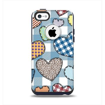 The Stitched Plaid Vector Fabric Hearts Apple iPhone 5c Otterbox Commuter Case Skin Set