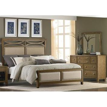 Liberty Furniture Town & Country Panel Bed & Dresser & Mirror in Distressed Sandstone w White