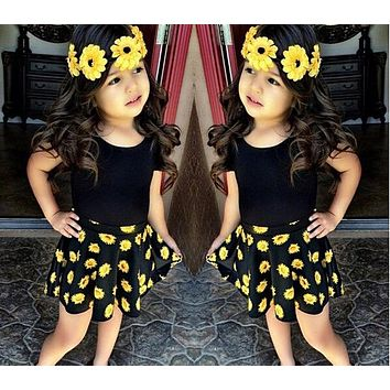 Floral Designs Dresses For Girls Children girls clothing sets T-shirt +Flower Printed Skirt Kids baby girls Clothes