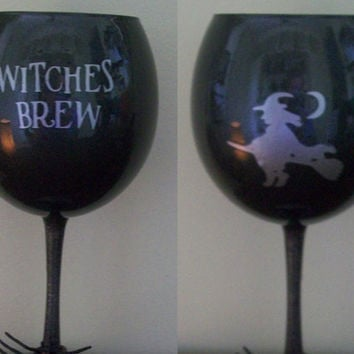 Witches Brew Halloween Wine Glass