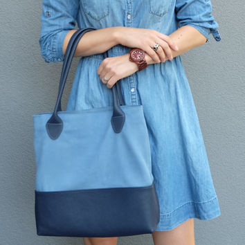 Blue leather tote - Leather tote bag - Leather handbag - Blue tote - Leather tote - Blue leather bag - Leather shoulder bag - Inside pocket