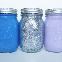 Blue, Purple, and Glitter Mason Jars
