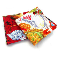 """Chinese Food Double Sided Lunch Cloth Napkins -Set of Red Blue Food 8.5x8.5"""" Napkins"""