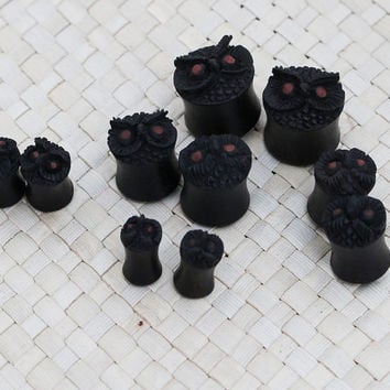 One Pair Black Owl Plug Earrings Wood Plug Earrings