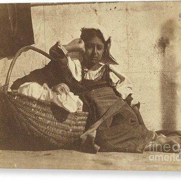 Barefoot Girl Leaning On Basket With A Doll - Acrylic Print
