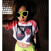 Green Day Shirt Baseball T-Shirt Crop Top Leopard, Pink, Red, Black And White Hipster Fashion
