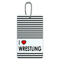 I Love Heart Wrestling ID Card Luggage Tag