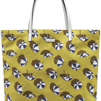 DCCKUG3 Gucci Yellow Cardamom Parasol Print Canvas Leather Detail Tote Bag