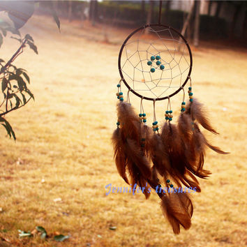 New fashion originality big Hot Brown Dreamcatcher Wind Chimes Indian Style Skull  Feather Pendant dream Catcher Gift