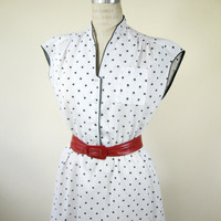 80s White Black Polka Dot Dress Size Medium