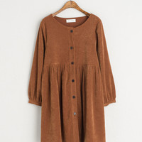 Button Down Corduroy Dress, Brown