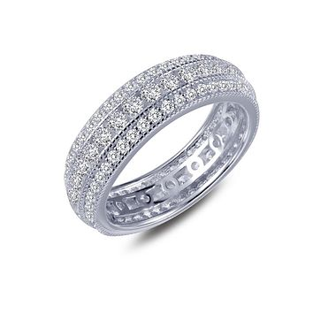 Lafonn Classic Sterling Silver Platinum Plated Vintage Inspired Lassire Simulated Diamond Ring (1.9 CTTW)