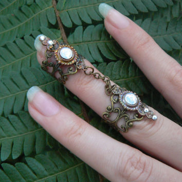 double armor ring double chained ring  nail ring  claw ring nail tip ring knuckle ring