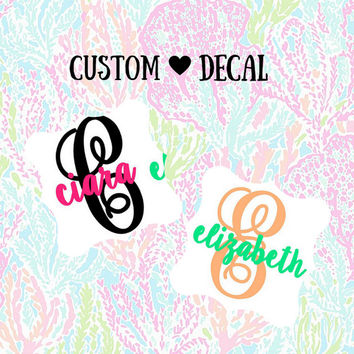 Monogram decal - Name and Letter Decal -  Car decal - Monogram Cup - Vinyl decal -Yeti decal - Planner decal - Monogram Sticker - Name Decal