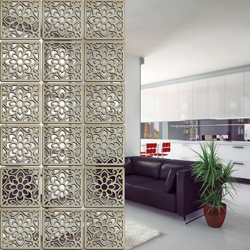 Decorative Solid Wood Modern Tiles Partition/Folding Wall Panels; 6 Pc. Lot