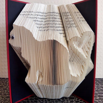 Cat - Heart - Cat Lover - Folded Book Art - Book Sculpture - Unique Present - Girlfriend Gift - Boyfriend Gift -  Gifts for Book Lovers