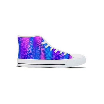 Electric Leopard - High Top Canvas Shoes