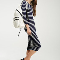 Striped Stretch-Knit Midi Dress