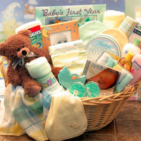 Deluxe Welcome Home Precious Baby Basket-Yellow/Teal (Lg)