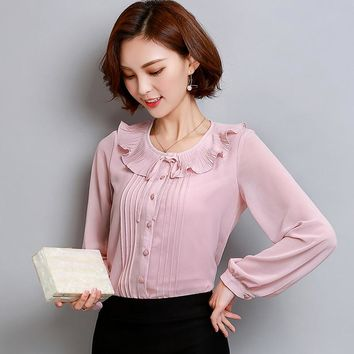 Female Autumn 2017 New Chiffon Blouse Shirt OL Fashion Ruffled Neck Long Sleeve Casual Blouses Office Plus Size 3XL Women Tops