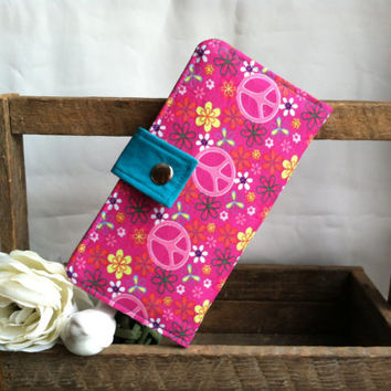 Peace sign floral Wallet, pinks and blue, folded wallet, coin pouch, card slots