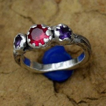 A Ruby Amethyst  Engagement Oak Twig Silver  Jewelry Handmade  Ring Womans Organic Ring   Three Stone Ring