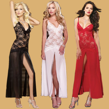 Cute On Sale Hot Deal See Through Lace Sexy Dress Ladies Spaghetti Strap Prom Dress Exotic Lingerie [6594737219]