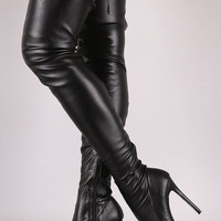woman sexy thigh high boots pointed toe over the knee high heel boots black stretch leather back lace-up long boots
