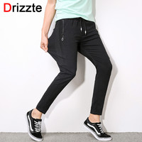 Men Zip Pocket Stretch Ankle Length Jogger Pants Trousers Black