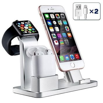 ONETOW iPhone Airpods Apple Watch Charging Stand, Aluminum AirPods Station Apple Watch iPhone Charging Docks Holder for AirPods / Apple Watch Series 3&2 / iPhone X/8/7/6 - ( 4 in 1)