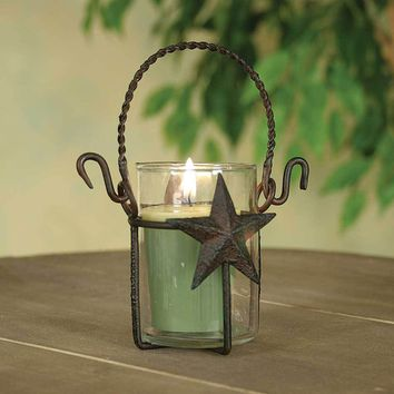 Star Votive Holder with Glass  - Rustic Brown