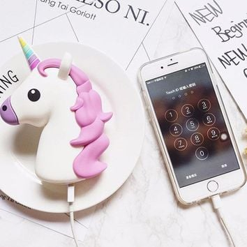 4000mAH Cute Unicorn Emoji Power Bank Battery Charger Portable For IPhone Sumsung