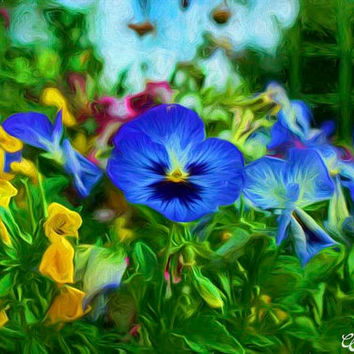 Blue and Purple Petunia Flowers Fine Art Photography Painting Arizona Flowers Painting Two (2) Prints