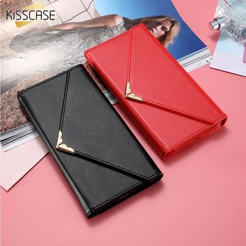 KISSCASE Envelope Wallet Case For iPhone 6 6S 7 Plus Luxury Leather Woman Handbag Card Slots Phone Cover For Samsung S7 S6 Edge