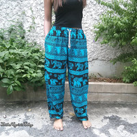 Elephants Yoga Pants Baggy Boho Hobo Style Printed Hippie Gypsy Aladdin Clothing Beach Clothes Summer Women Hipster Plus Size Comfy Blue