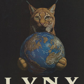 Vintage Magazine Ad Art-1980s Lynx Cat Auto Advertisement-Lynx Cat Holding Earth-Vintage Magazine-Print Ad For Framing-Vintage Ephemera