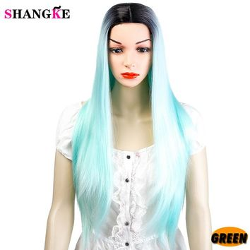 """SHANGKE"" 22 inch Long Straight Black Wig Hairstyles Heat Resistant Synthetic Wigs"