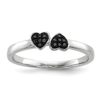 Sterling Silver Double Black Diamond Double Heart Ring