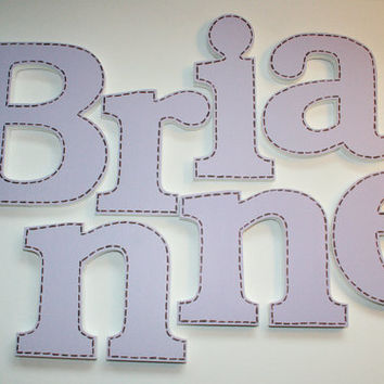 Lavender Stitched Wooden Wall Name Letters / Hangings Hand Painted for Girls Rooms, Play Rooms and Nursery Rooms