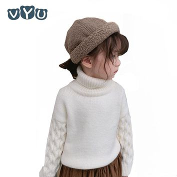 New Boys Girls Sweater Children Kids Solid Color Thicken Wam Turtleneck Pullover Soft Long Sleeved Sweater Kids Clothes