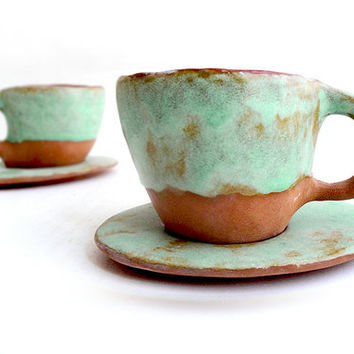 Set of Two Rustic Cups and Saucers Hand Building in Red Clay and Glazed in Green Turquoise