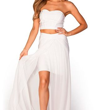 Cara Bright White Strapless Two Piece Bandage Dress Maxi Gown