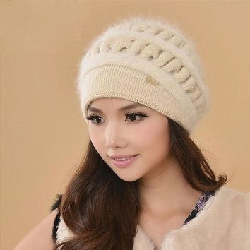 Women Winter Hats Female Beanies Thicken Knitted Wool Hat Thermal Rabbit Fur Cap Casual Earmuffs Caps Gorros