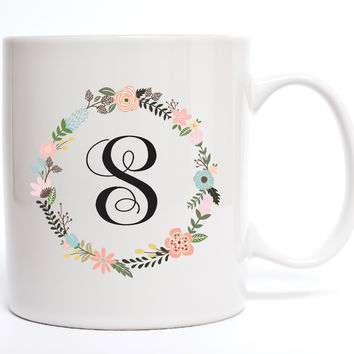 Initial Flower Wreath Coffee Mug