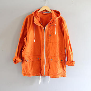 Orange Canvas Parka Jacket Waist Drawstring Hooded Denim Jacket Unisex Vintage 90s Size L #O146A