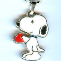 Cute!  SNOOPY DOG, Character, Holding a Red Heart, Charlie Brown, Peanuts Charm Pendant & Necklace - J208