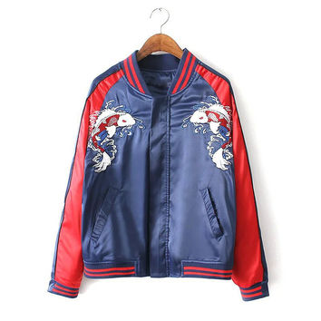 Multicolor Pockets Zipper Front Fishes Embroidery Jacket