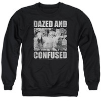 DAZED AND CONFUSED/ROCK ON - ADULT CREWNECK SWEATSHIRT - BLACK -