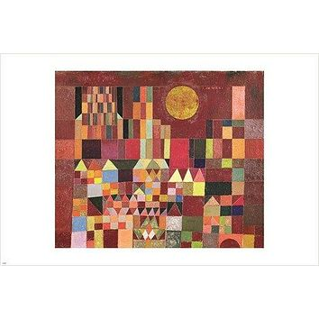 paul klee - slot og sol VINTAGE PAINTING ART POSTER colorful cubist 24X36