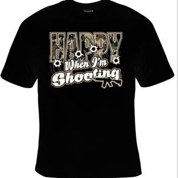 happy when im shooting t-shirt cool funny t-shirts cute gift present humor tee shirts jokes